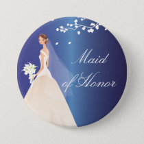 Blue Bride Maid of Honor Bridal Party  Button