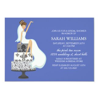 Blue Bride on Wedding Cake Card
