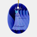 BLUE Bridesmaid Thank You Wedding Double-Sided Oval Ceramic Christmas Ornament