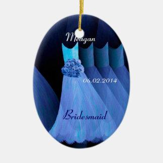 Blue Bridesmaid Thank You Wedding V002 Ceramic Ornament