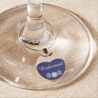 Blue Bridesmaid Wedding Wine Charm