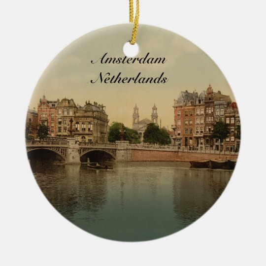 Blue Bridge and the Amstel River, Amsterdam Ceramic Ornament