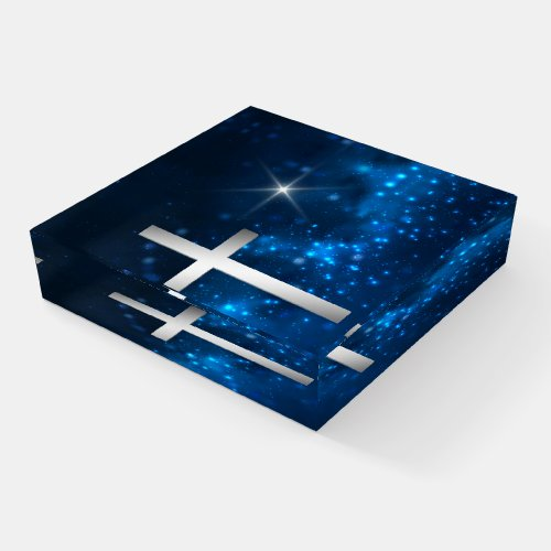 Blue Bright Star Christian Silver Cross Paperweight