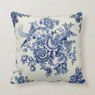 """Blue Bristol Blooms 16"""" by 16"""" Throw Pillow"""