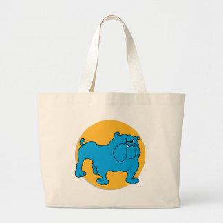 Blue British Bulldog Large Tote Bag