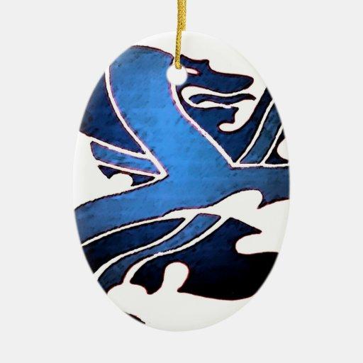 Blue British Lion Christmas Tree Ornament