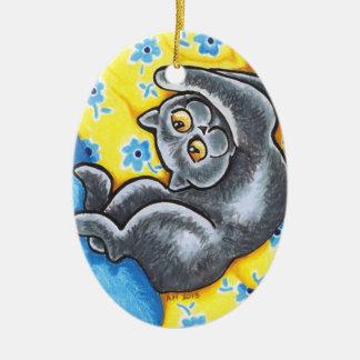 Blue British Shorthair Cat Flower Bed Ceramic Ornament