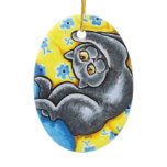 Blue British Shorthair Cat Flower Bed Double-Sided Oval Ceramic Christmas Ornament