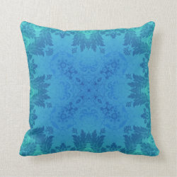 Blue Brocade Kaleidoscope Design Throw Pillow