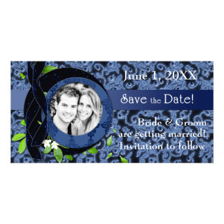Blue Brocade Save the Date Photo Card
