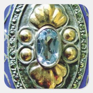 BLUE BROOCH JEWELS JEWELERY BEAUTY FANCY FASHION S SQUARE STICKER