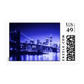 Blue Brooklyn Bridge - New York Night Postage