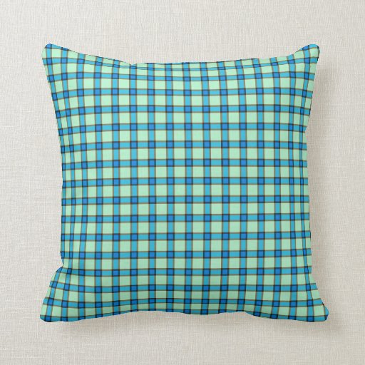 Blue, Brown, and Green Plaid Throw Pillow Zazzle