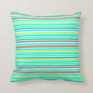 Blue Brown and Green Spring Stripes Modern Pattern Throw Pillow