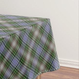 Blue, brown and green tartan tablecloth