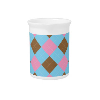 Blue, brown and pink plaid pattern beverage pitcher