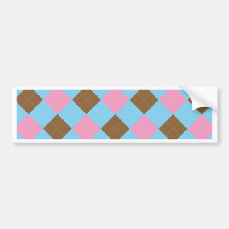 Blue, brown and pink plaid pattern bumper sticker