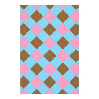 Blue, brown and pink plaid pattern stationery