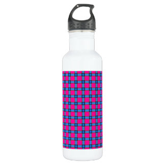 Blue Brown, and Pink Plaid Stainless Steel Water Bottle
