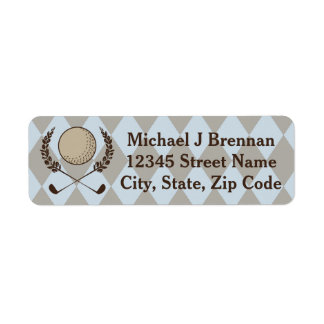 Blue Brown Argyle Golf Label