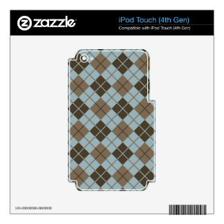 Blue-Brown Argyle iPod Touch 4G Decal
