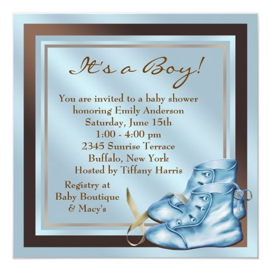 Blue Brown Baby Shoes Blue Brown Baby Boy Shower Card