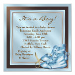 Blue Brown Baby Shoes Blue Brown Baby Boy Shower Personalized Announcements
