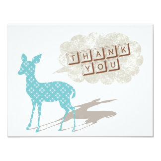 Blue/Brown Bambi Flat Thank You Card