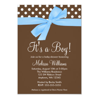 Blue Brown Bow Polka Dot Baby Shower Invitations