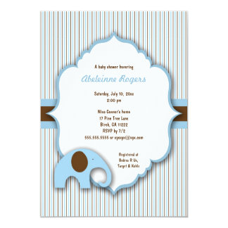 Blue & Brown Boy Elephant Baby Shower Invite