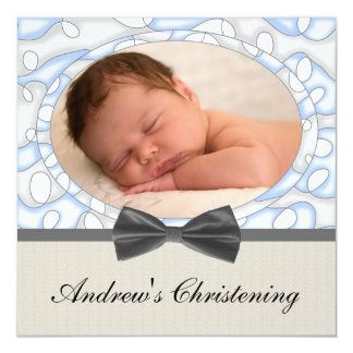 "Blue Brown Boys Photo Christening 5.25"" Square Invitation Card"