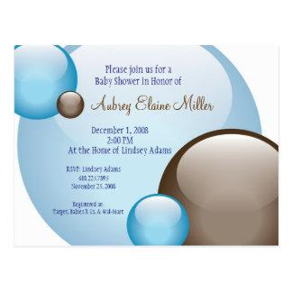 Blue & Brown Bubble Invitation Postcard