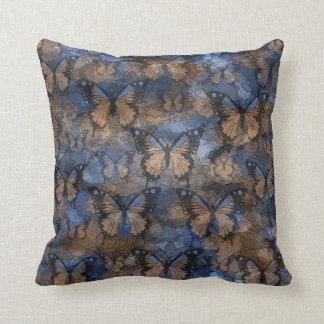 Blue Brown Butterflies Pillow