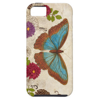 Blue Brown Butterfly floral iPhone 5/ 5S case