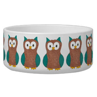 Blue Brown Cartoon Owl Print Owls Bird Pet Bowl