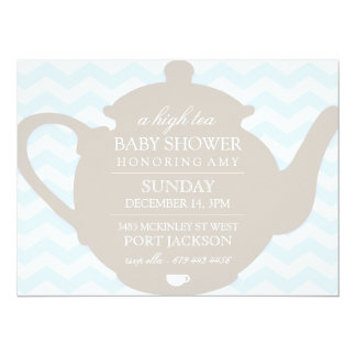Blue & Brown Chevron High Tea Baby Shower Invite