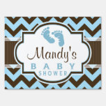 Blue & Brown Chevron Stripes Baby Shower Sign