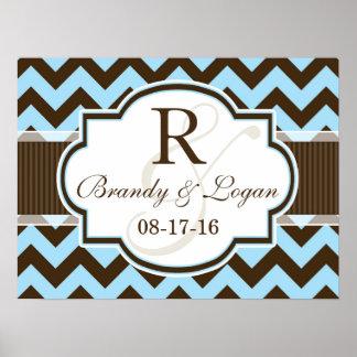 Blue & Brown Chevron Stripes Wedding Poster