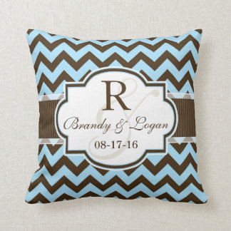Blue & Brown Chevron Stripes Wedding Throw Pillow
