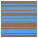 [ Thumbnail: Blue & Brown Colored Lines/Stripes Pattern Fabric ]