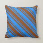 [ Thumbnail: Blue & Brown Colored Lines/Stripes Pattern Pillow ]