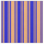 [ Thumbnail: Blue & Brown Colored Striped/Lined Pattern Fabric ]