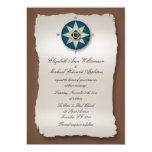 Blue & Brown Compass Wedding Invitations