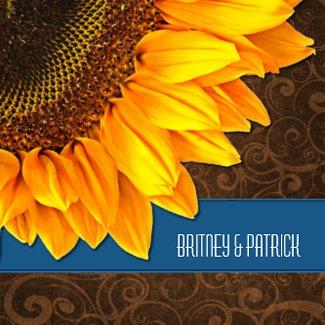 Blue Brown Country Sunflower Wedding Invitations invitation
