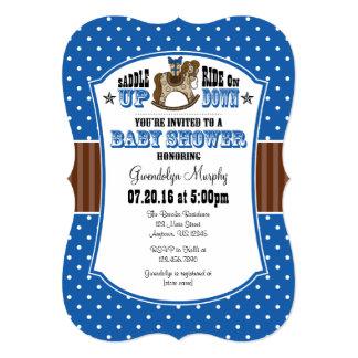 Blue Brown Cowboy Baby Shower Invitation