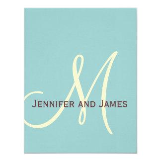 Blue Brown Cream Monogram Wedding RSVP Card