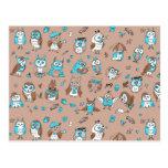 Blue brown cute owls pattern postcard