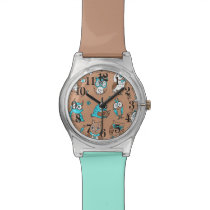 Blue brown cute owls pattern watch