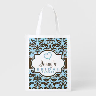 Blue & Brown Damask Bridal Shower Grocery Bag