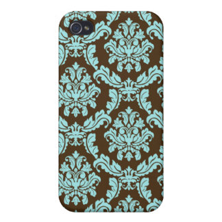 Blue Brown Damask Case iPhone 4 Cases